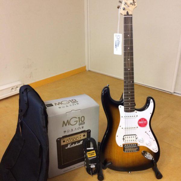 guitare électrique avec housse et ampli
