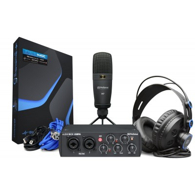 interface audio micro et casque noirs