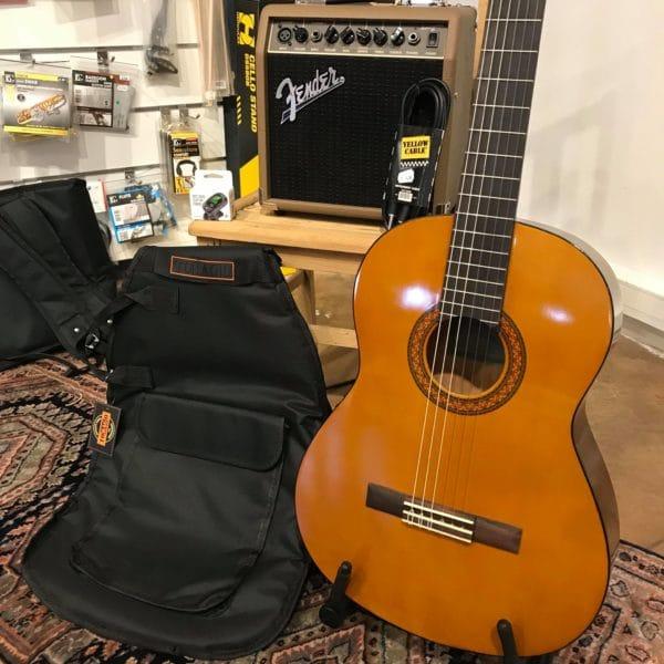 guitare marron avec housse noire