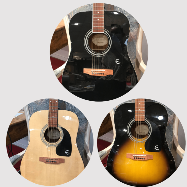 guitares acoustiques de différentes couleurs