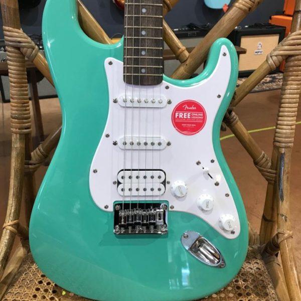 guitare électrique bleu vert